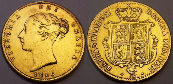 1866 half shield back Sovereign from www.lainson.eu