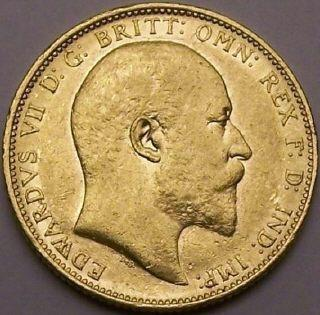 Edward 7th Gold Sovereign M mint mark
