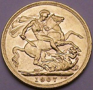 Edward VIIth Gold sovereign 1907 Melbourne mint mark.