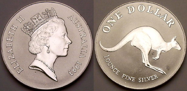 Picture of a 1 ounce Australian 1993 silver Kangaroo 1 Dollar