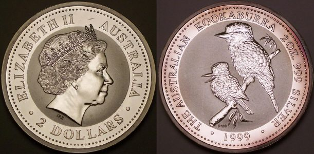 Picture of an Australian proof 1999 2 ounce silver 2 Dollar Kookaburra from lainson.eu