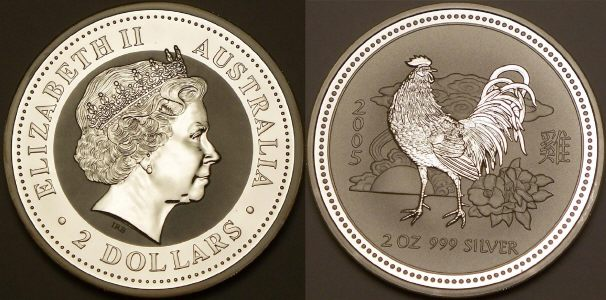 Picture of an Australian 2005 2 ounce silver 2 Dollar Lunar rooster from lainson.eu