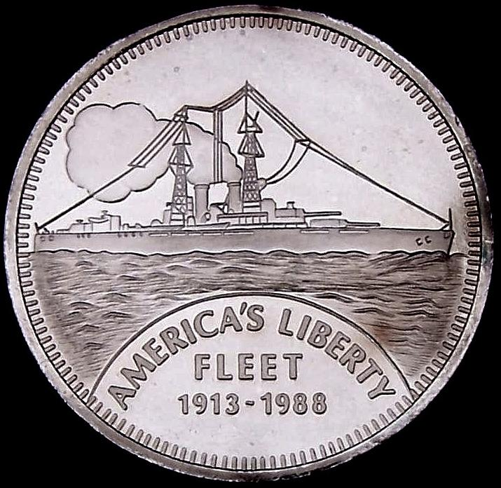 Ingot image of reverse of a 5 ounces solid .999 silver American Liberty Fleet