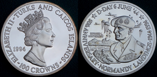 Coin image of 5 ounces silver Turks and Caicos islands General Montgomery 50th anniversary d-day landings 100 crowns 1994 from www.lainson.eu