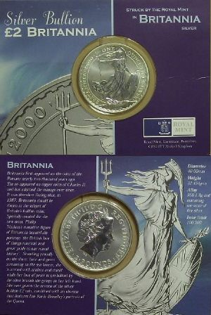 Picture of a 1 ounce silver Great Britain Britannia �2 2000 carded version