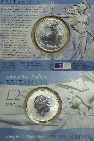 Picture of a 1 ounce silver Great Britain Britannia �2 2006 carded version