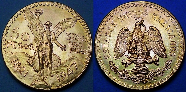 Mexican 50 Pesos in gold from www.lainson.eu