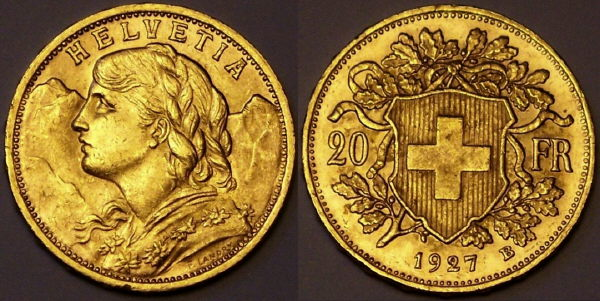 Vrenelli style Swiss Gold 20 Francs from www.lainson.eu
