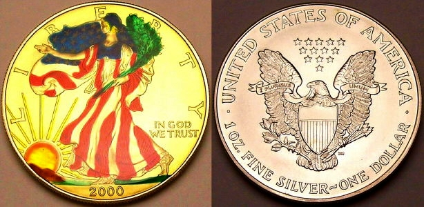 Colourized year 2000 Silver Eagle from www.lainson.eu