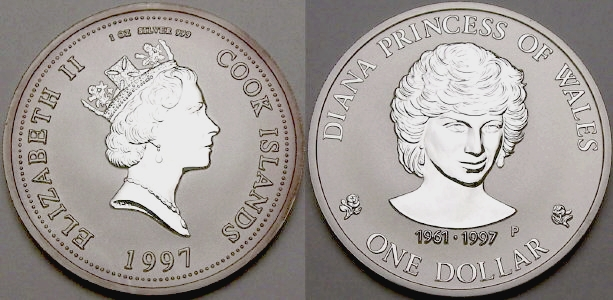 Picture of a 1 ounce silver Cook Islands Princess Diana (Lady Di) 1 Dollar 1997