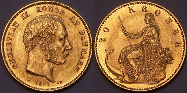 Danish gold 20 Kroner coins from lainson.eu