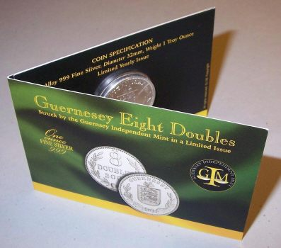 Picture of a 1 ounce silver Guernsey 8 Doubles 2003 carded version