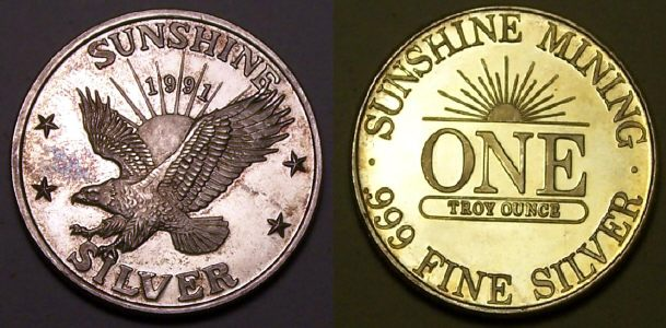Coin picture of a 1 ounce silver Sunshine Mining Eagle US 1991
