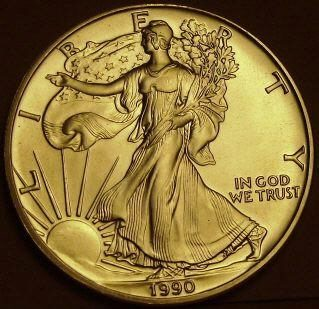 Coin picture of obverse of a 1 ounce silver United States Eagle 1 Dollar 1990