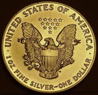 Coin picture of reverse of a 1 ounce silver United States Eagle 1 Dollar 1990