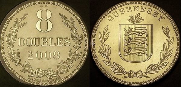 Picture of a 1 ounce silver Guernsey 8 Doubles 2009 carded version