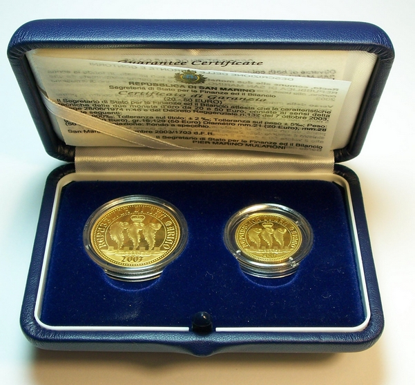 San Marino gold proof set 2003 from www.lainson.eu
