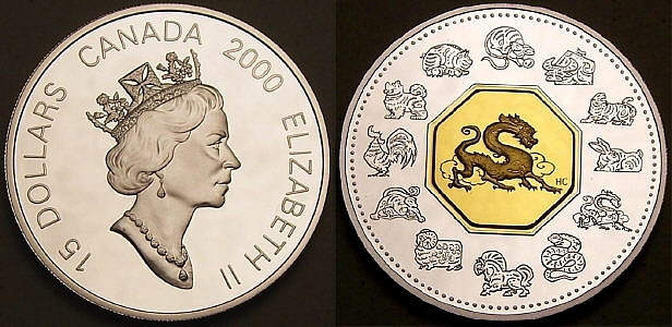 Here is a Canadian lunar dragon with gold from www.lainson.eu