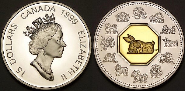 Here is a Canadian lunar rabbit with gold from www.lainson.eu