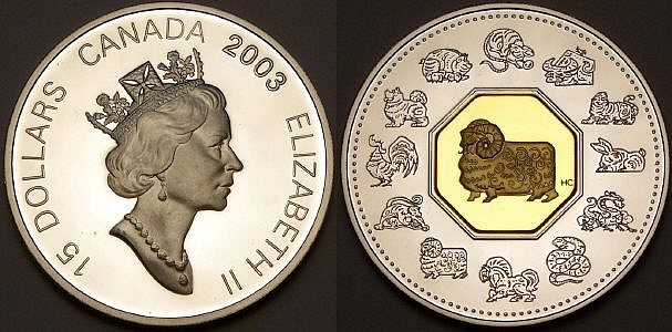 Here is a Canadian lunar sheep with gold from www.lainson.eu