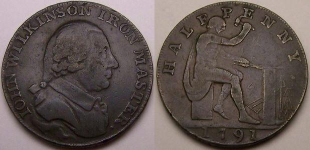 An original 1791 John Wilkinson copper halfpenny token from www.lainson.eu