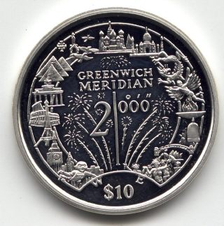 Picture of reverse of a 1 ounce silver Liberia Greenwich Meridian 10 Dollars 2000