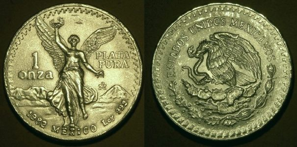Coin picture of reverse of a 1 ounce silver Mexico Libertad 1982