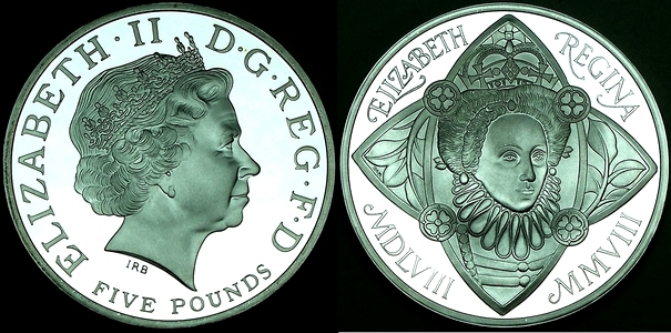 2008 British silver Crown featuring 450th anniversary of accession of Elizabeth 1 to the throne available from lainson.eu