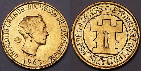 Luxembourg gold 20 Francs 1963 from www.lainson.eu