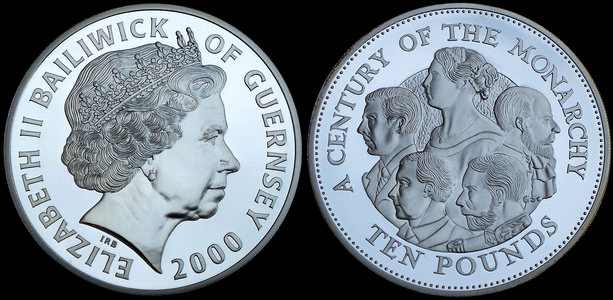Image of 5 ounce silver Guernsey Century of the Monarch �10 2000 from www.lainson.eu