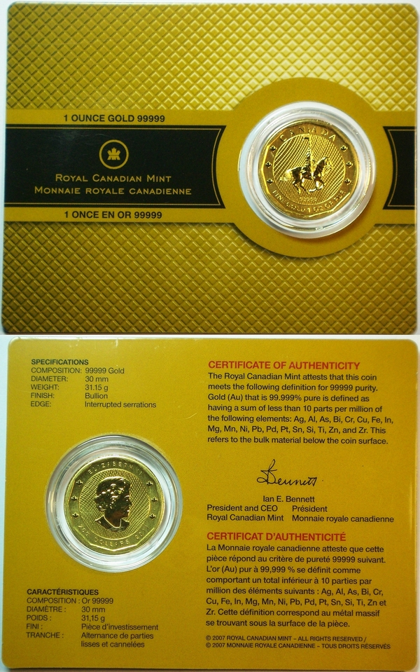 Canadian Mountie 1 oz coin 2011 in .99999 gold from www.lainson.eu