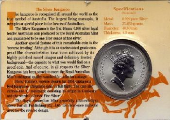 Picture of obverse of a 1 ounce Australian 1994 carded silver Kangaroo 1 Dollar