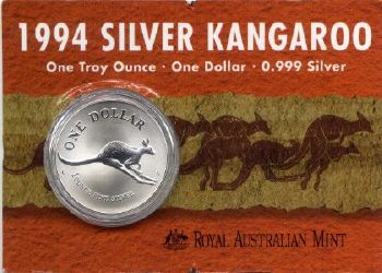 Picture of reverse of an Australian 1994 carded silver Kangaroo 1 Dollar