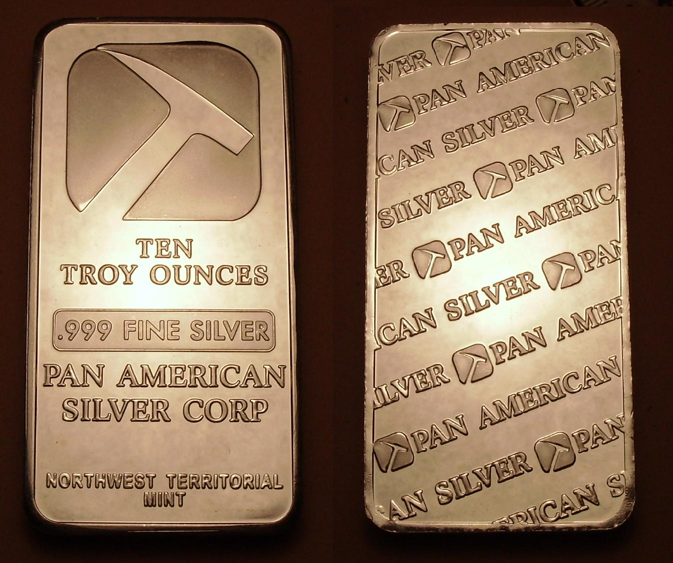 Ingot image of a 10 ounces solid .999 silver US NWT Pam-American bar