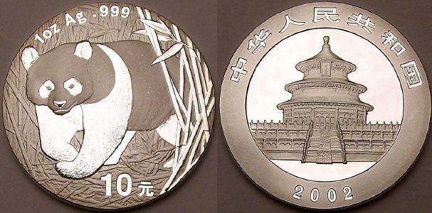 2002 1 ounce Chinese silver Panda coins available from www.lainson.eu