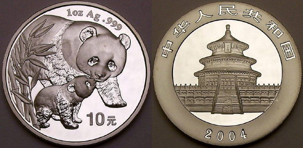 2004 1 ounce Chinese silver Panda coins available from www.lainson.eu
