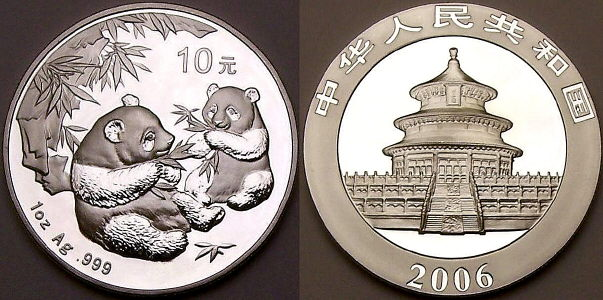 2006 1 ounce Chinese silver Panda coins available from www.lainson.eu