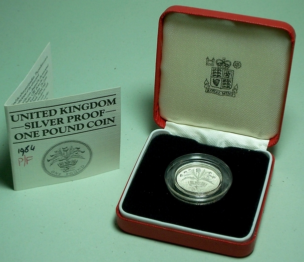 Picture of a Royal Mint 1984 silver piedfort �1 in box with CoA from www.lainson.eu