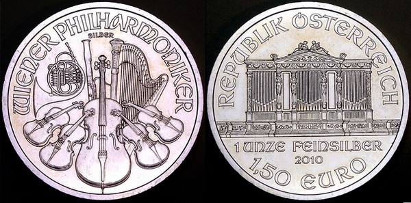 Picture of a 1 ounce Austrian silver philharmoniker 1.5 Euros 2010