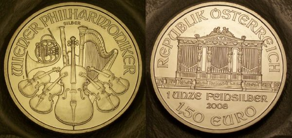Picture of a 1 ounce Austrian silver philharmoniker 1.5 Euros 2008