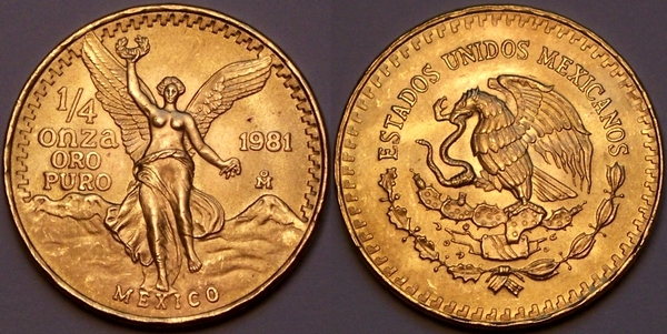 Mexican quarter Onza in gold from www.lainson.eu