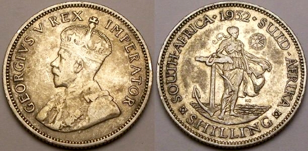 Silver 1932 shilling from South Africa from www.lainson.eu.