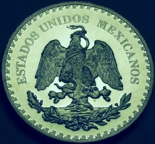 Ingot image of obverse of a 5 ounces silver Mexico American Munismatic Association medal 1987