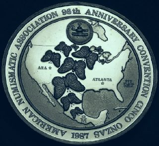 Ingot image of reverse of a 5 ounces silver Mexico American Munismatic Association medal 1987