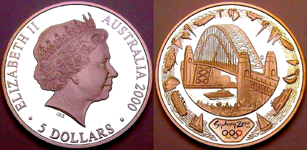 Image of the 2000 Sydney Harbour Bridge colourized 5 Dollar siver coin from www.lainson.eu