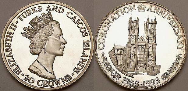 Picture of a Turks and Caicos 20 Crowns Westminster Abbey .999 silver coin from www.lainson.eu