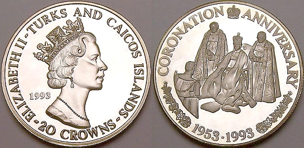 Picture of a Turks and Caicos 20 Crowns Consort's Homage .99 silver coin from www.lainson.eu