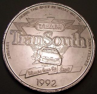 Ingot image of obverse of a 5 ounces solid .999 silver USA TranSouth round 1992