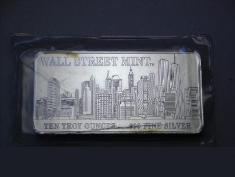 Ingot image of a 10 ounces solid .999 silver US WST Wall Street Mint Twin Towers bar