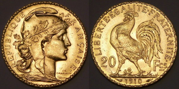 French 20 Franc Gold Rooster Coin From Www Lainson Eu